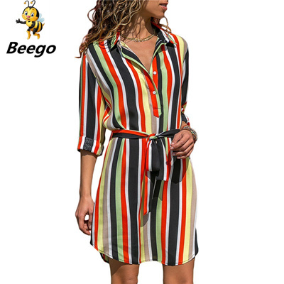 d581ef6456724 Long Sleeve Shirt Dress 2019 Summer Chiffon Boho Beach Dresses Women Casual  Striped Print A-line Min