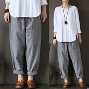 ZANZEA Plus Size Trousers Women Elastic Striped Pockets Loose Casual Long Pants