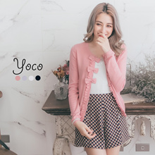 YOCO - Cardigan with Ribbons and Rosette Buttons-170376