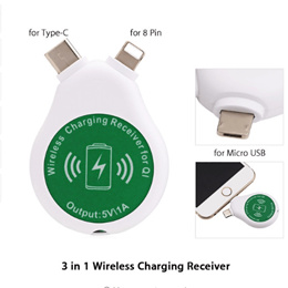 3 in 1 Qi Wireless Charging Receiver Type C 8 Pin Micro USB Mini Charger Coil for iPhone Samsung