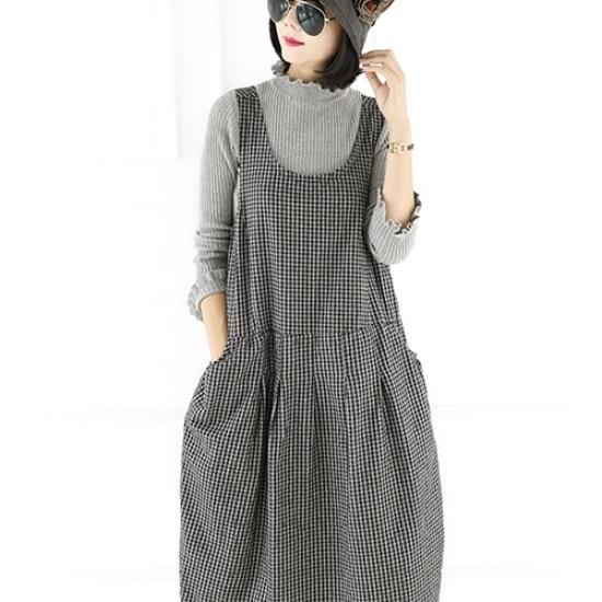 ミジ、ショッピングモールの間、チェックワンピース 綿ワンピース/ 韓国ファッション