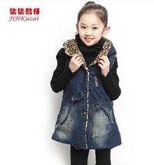 Children Korean Fashion Coat Girls Denim Vest Children Cotton Vest 2014 Autumn Winter Outerwear Brand Quality Jacket Kids Overcoat