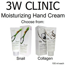 ★ 3W Clinic ★  Moisturizing Hand Cream 100ml Snail / Collagen / Olive / Acacia / Lemon / Apple