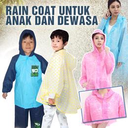 Jas hujan anak dan dewasa wanita / Fashio Kids Rain Coat