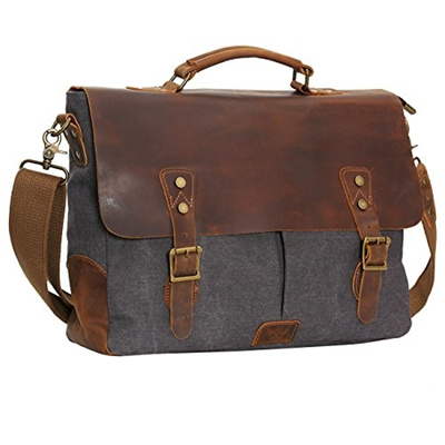 8be10612d WOWBOX Messenger Satchel bag for men and women Vintage canvas real leather  14-inch Laptop