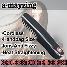 a-mayzing rechargeable cordless hair straightening comb brush flat iron styling portable ions comb