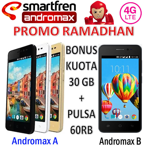 Smartfren Andromax A / B Free Kuota 30GB Deals for only Rp750.000 instead of Rp750.000