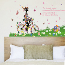 Cute Bicycle Girl Wall Stickers Kids Room Princess Room Wall Decor Wall Decals