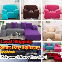 [Qprime] Universal Sofa Bed Slip Cover Cushion Cover Plain Color Sectional L Shaped Dust Protector