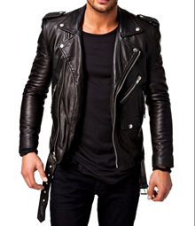 Spring-Lucky Leisure Men Coat Motorcycle Leather Leather Bomber Jackets Hhsp161013-44