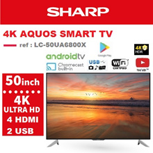 [SHARP OFFICIAL] 50 inch 4K UHD Android Digital LCD TV LC-50UA6800X