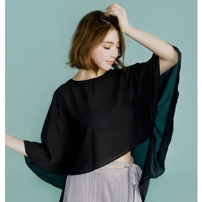 07. batt sleeve blouse - black - free