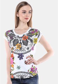 Slim Fit - Kaos Wanita - Gambar Bunga