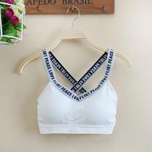 Summer letter strap vest patterned steel tube top gathered beauty shock run