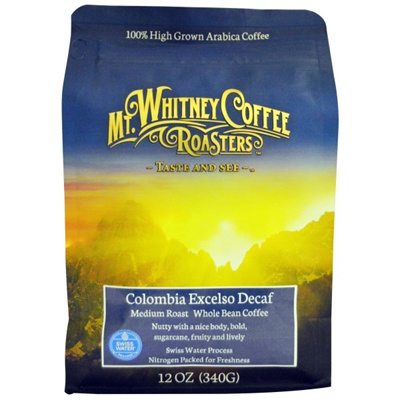 Mt. Whitney Coffee Roasters Columbia Excelso Decaf Whole Bean Coffee Medium Roast 12 oz (