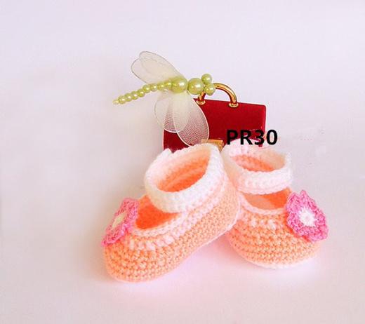 Qoo10 - Crochet baby girl shoes, Peach