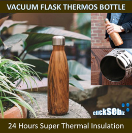 SWELL Good Quality Vacuum Flask Thermos Water Bottle TeakWood Classic N Water Drop Collection