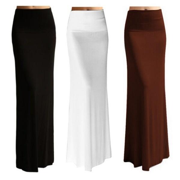 女性の女の子ソリッド因果律ロングスカートセクシーな鉛筆の床の長さのスカート