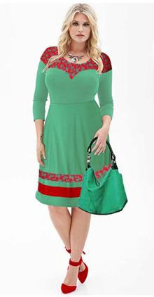bigsize green red lace dress