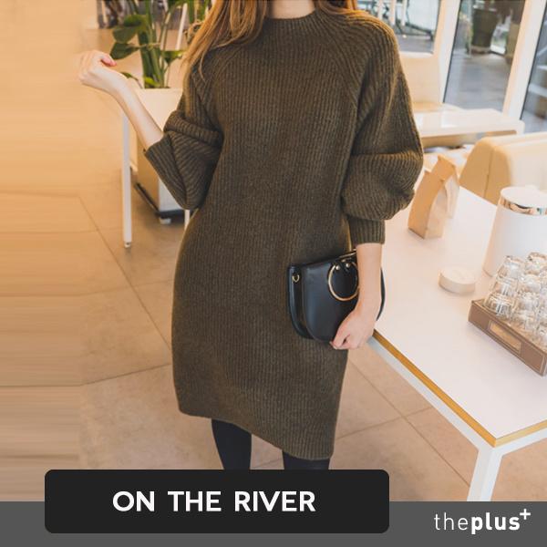 バルーン袖ニットワンピース❤ラグランラウンドネックロングワンピースルーズフィット韓国人気レディースファッション
