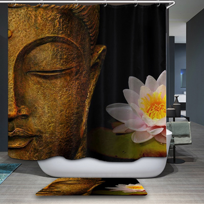 Buddha Shower Curtains Waterproof Polyester Fabric Bathroom Curtain With Hooks Custom
