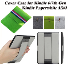 [Hot Sale] Hand Cover Case Portable Protector for Kindle Paperwhite 1/2/3 Kindle 6/7th Gen Elastic Band Casing Wool felt sleeve