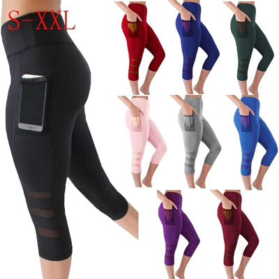 Women Fashion Sexy Stretch Cropped Pants Lady Casual Sports Wear Yoga Pants with Pockets
