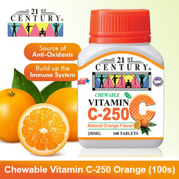 [21st Century] Vitamin C-250 Orange (Chewable) (100s) *Antioxidant *Build up Immune System