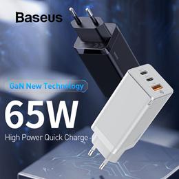 适用于iPhone Macbook Pro小米10的Baseus 65W GaN快速充电器,带有快速充电4.0 3.0 PD 3.0 USB充电器10三星S20华为P40