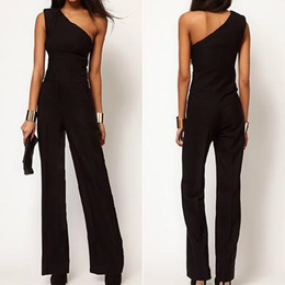 Women s One Shoulder Jumpsuit Sexy Black Bell-bottoms Loose Overall Pants