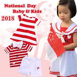 🇸🇬🇸🇬2018 SG National Day🇸🇬🇸🇬 0-10years Kidswear//Outfit set/Kids Tee/Kids Shorts/Red/Singa