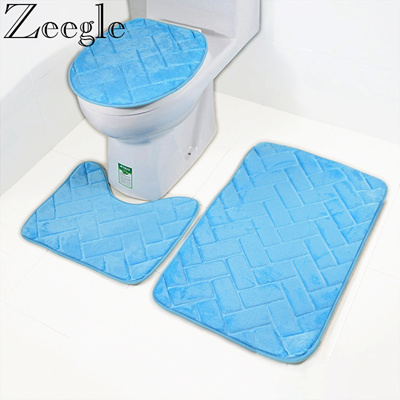 Microfiber Bath Matsset Toilet Rugs Anti Slip Toilet Floor Mats Bathroom Carpetsset Toilet Lid