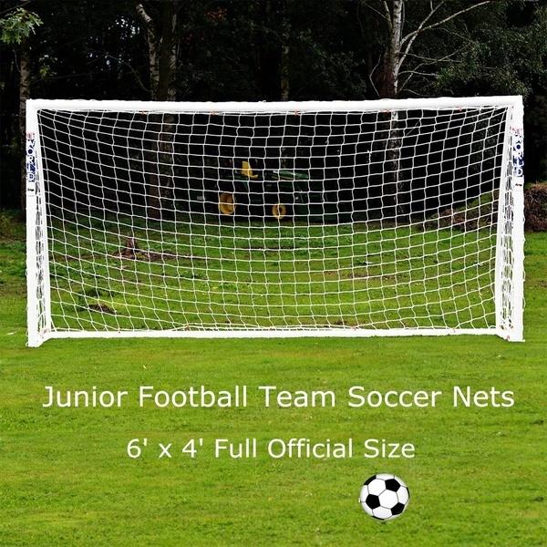 6×4フルオフィシャルサイズジュニアサッカーチームミニサッカーネット(サイズ:1.8mx 1.2m、カラー:ホワイト)
