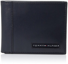 AUTHENTIC Tommy Hilfiger Mens Leather Wallet Cambridge Passcase Bifold with Removable Card Case Navy