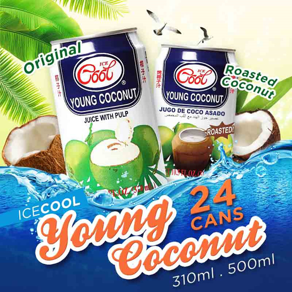 [Ice Cool] 24 CAN CARTON SALE! Roasted/Original Young Coconut with Pulp 310ML/500ML! FREE DELIVERY Deals for only S$29.9 instead of S$0