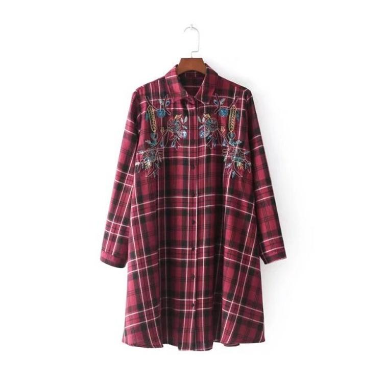 2017の秋冬冬服、欧米のゆったりとして大コードに刺繍ミニワンピース
