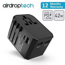 Universal Socket Travel Adapter 30W PD Type-C + USB Port Charger Macbooks [FREE POUCH]