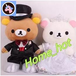 Genuine RILAKKUMA relax bear head doll western style wedding wedding gift wedding press doll