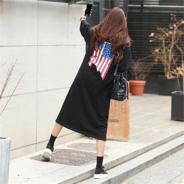 【ピピン]巣穴USA星条旗プリントロングワンピース#35041 new ロング/マキシワンピース/ワンピース/韓国ファッション