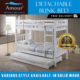 Detachable Bunk Bed With Pull-out Bed/Double decker bed/Single and Queen Size bunk bed/Trundle Bed