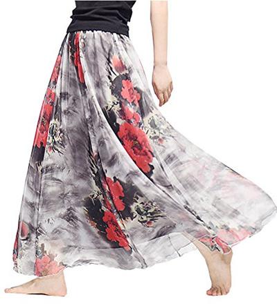 e84dce5376 [MIFIER] Women s Chiffon Long Maxi Skirt Elastic Waist Bohemian Beach Skirt