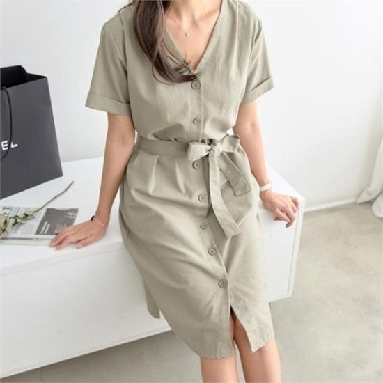 ピピン行き来するようにピピンガートナーピンタック・ポイントボタンリンネンワンピース34744 綿ワンピース/ 韓国ファッション