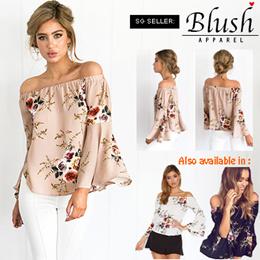 Off Shoulder Loose Sleeves Floral Printed Top  #MGLIN94