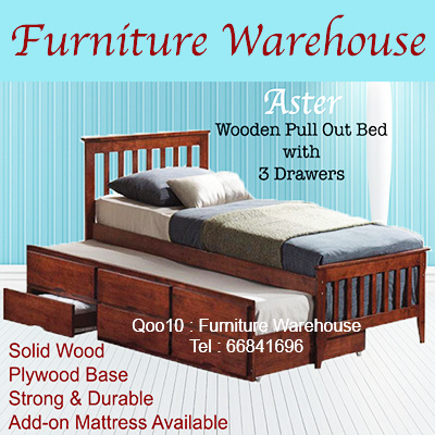 Wonderful ASTER MIRA 3in1 Wooden Pull Out Bed With 3 Storage Drawers / Add On  Mattress /