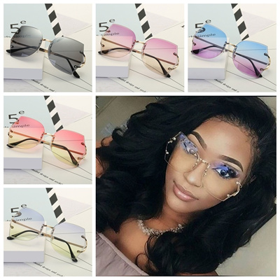 be9dac19928 Women Rimless Glasses Oversized Clear Lens Big Size Sunglasses Unique Hot  Sell Transparent Eyeglasse