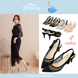 Gracegift-Disney Princess Cinderella Ribbon Tie Carriage Charm Heel/Women/La