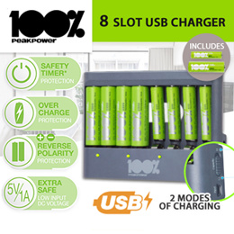 100%PeakPower 【8 Slot USB Batteries Charger】includes 4 x AA and 4 x AAA Rechargeable Batteries