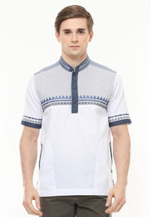 LGS - Slim Fit - Baju Koko - Motif Bordir Biru - Putih - JSH.383.S817KF.247.C JSH.383.S817KF.247.C