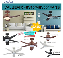$180 Sales! CRESTAR/AMASCO/ALASKA DC Ceiling Fan ValueAIR/SilkAIR/ WALE 40/46/48/55 Remote + LED