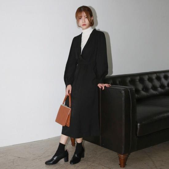 デイリー・マンデーClassic shawl collar onepieceワンピース 綿ワンピース/ 韓国ファッション